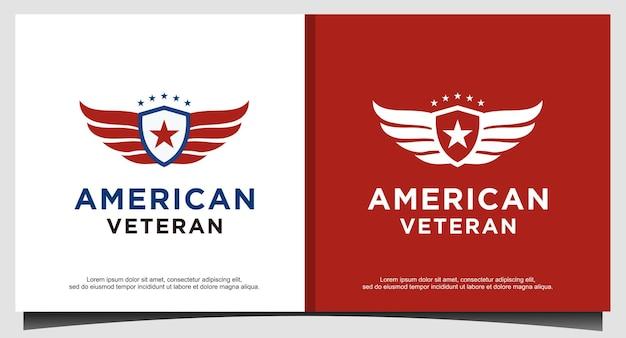 Amerikanischer veteranenschild patriotischer nationaler logo-designvektor