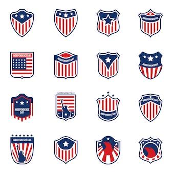 Amerikanisches flaggenlogo collecti