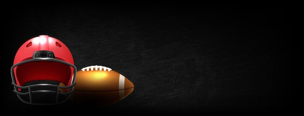 Amerikanisches fußballspiel auf schwarzem hintergrund