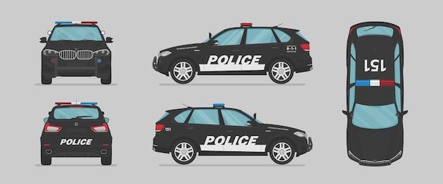 Amerikanisches polizeiauto von verschiedenen seiten