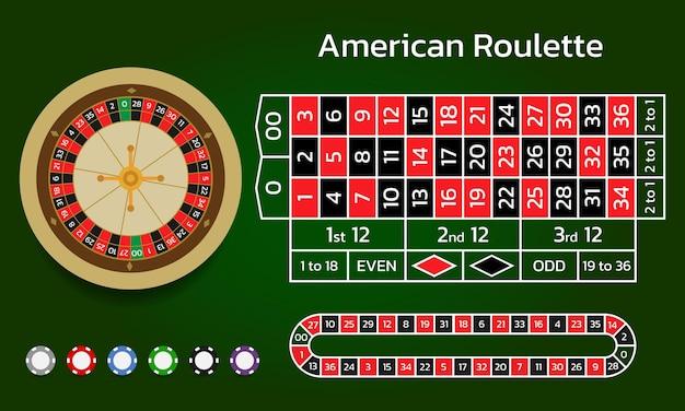 Amerikanisches roulette und online-casino wheel track und spielchips flat style vector illustration