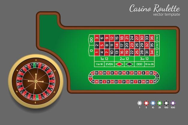 Amerikanisches roulette, zwei null. vorlage für online-casino und website. roulette-rad, spur für call-wetten und spielchips. vektor-illustration