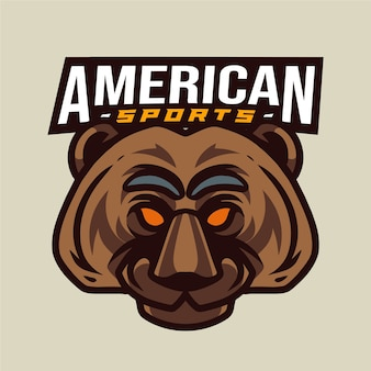 Amerikanisches sportlogo des bärenkopfes