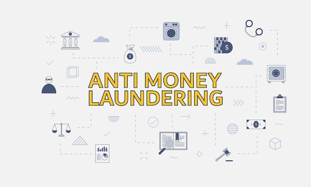 Aml anti-geldwäsche-konzept mit symbolsatz mit großem wort oder text auf mittlerer vektorillustration