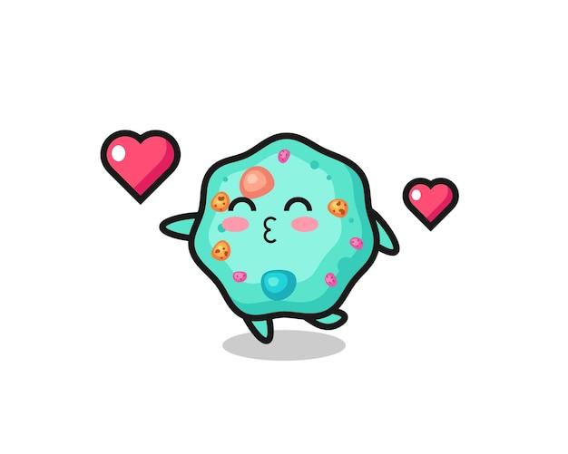 Amoeba-charakter-cartoon mit küssender geste, süßem stildesign für t-shirt, aufkleber, logo-element