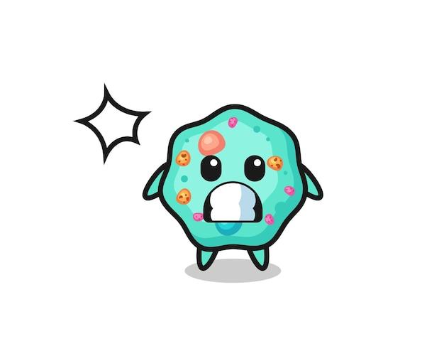Amoeba-charakter-cartoon mit schockierter geste, süßem stildesign für t-shirt, aufkleber, logo-element