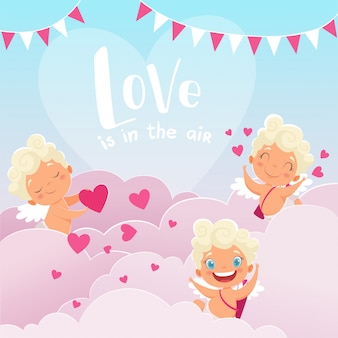 Amor bewölkt hintergrund, romantischen griechenland-gott des valentinstagbabys amur mit den bogenfliegenwolken, die liebhaberpaare jagen