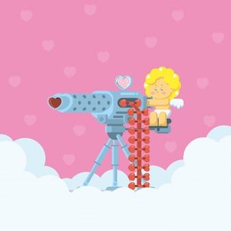 Amor, der ein schweres maschinengewehr zielt