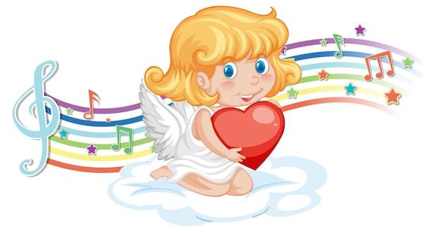 Amor-engel-charakter mit melodiesymbolen auf regenbogen