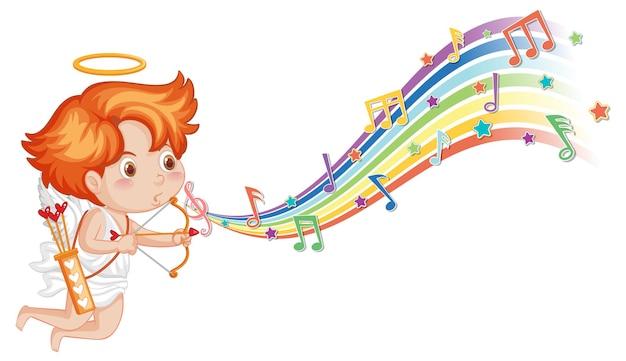 Amor hält pfeil und bogen mit melodiesymbolen auf regenbogen