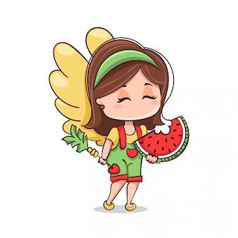 Amor isst wassermelone