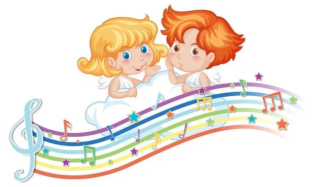 Amor-junge und mädchen-cartoon-figur mit melodiesymbolen auf regenbogen