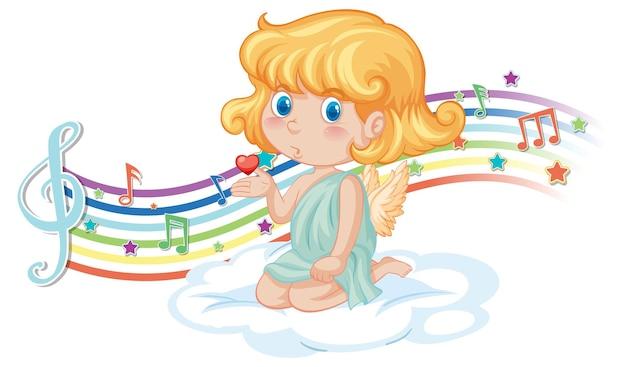 Amor-mädchen-charakter auf der wolke mit melodiesymbolen auf regenbogen