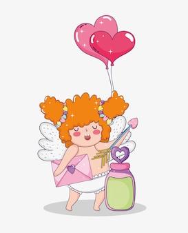 Amor mit pfeil- und herzballonen zum valentinstag