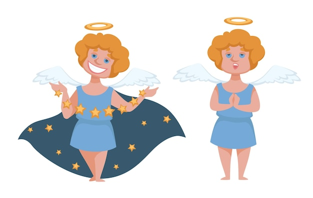 Amor oder engel mit heiligenschein und flügeln. kleiner junge mit umhang, der sterne wirft und lächelt. cherub-kostüm für kinder im urlaub. frohe weihnachten und guten rutsch ins neue jahr kartendekor. vektor im flachen stil
