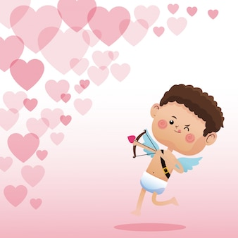 Amor valentinstag schießen bogen herzen hintergrund