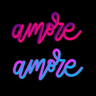 Amore 3d slogan moderner fashion slogan für t-shirt grafik