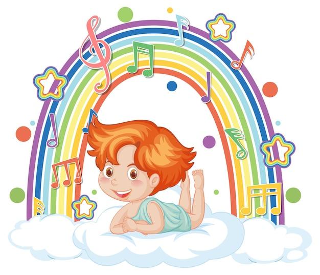 Amorjunge auf der wolke mit melodiesymbolen auf regenbogen