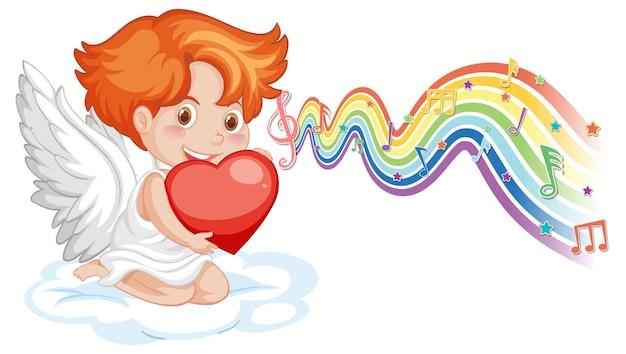 Amorjunge, der herz mit melodiesymbolen auf regenbogenwelle hält
