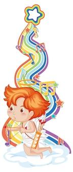 Amorjunge mit melodiesymbolen auf regenbogenwelle