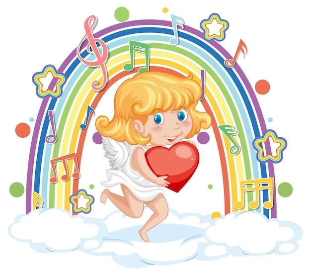 Amormädchen, das herz mit melodiesymbolen auf regenbogen hält