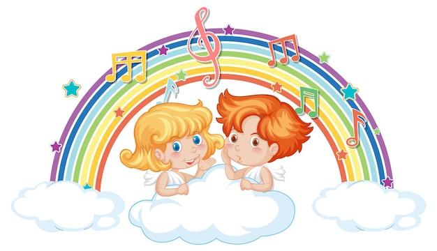 Amorpaar auf der wolke mit melodiesymbolen auf regenbogen