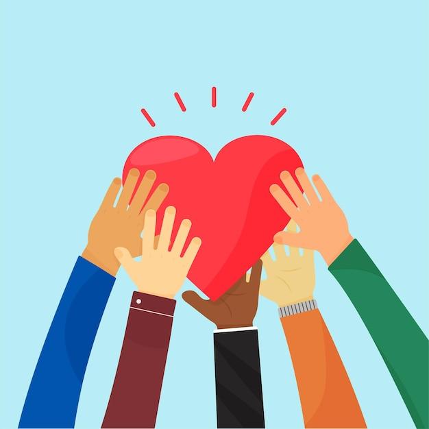 Ampathie und nächstenliebe. herz halten durch verschiedene hände. konzept liebe, freiwilliger, gemeinschaft christ.
