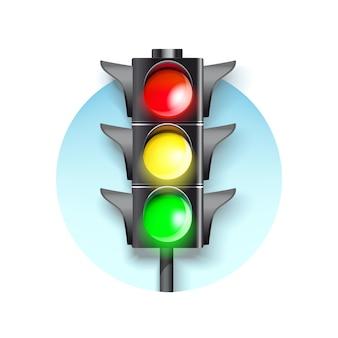 Ampel auf einer blauen runde. brennende grüne, rote und grüne farbe.