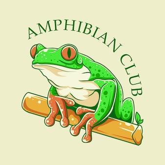 Amphibienclub mit froschillustration