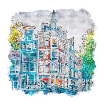 Amsterdam niederlande aquarell skizze hand gezeichnet