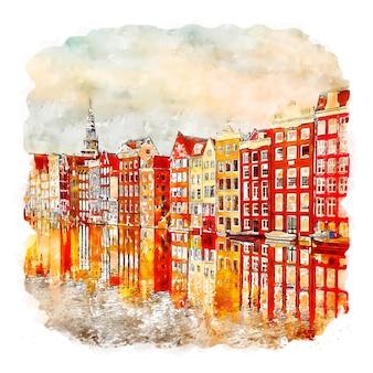 Amsterdam niederlande aquarellskizze handgezeichnete illustration