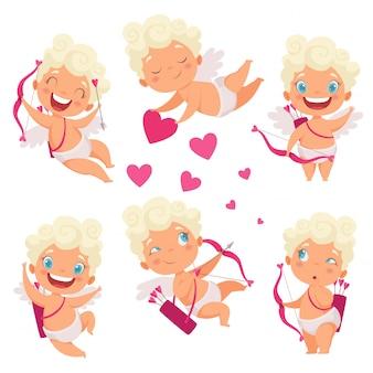 Amur baby engel. niedliche lustige kinder des kleinen gottes des amors eros griechenland mit romantischen bildern des bogenherzjägers