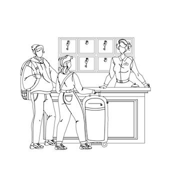 An der hotelrezeption, die gastpaare schwarze linie bleistiftzeichnung vektor registriert. junger mann und frau touristen mit gepäck im gespräch mit der rezeptionistin an der motel-rezeption in der lobby. zeichen abbildung