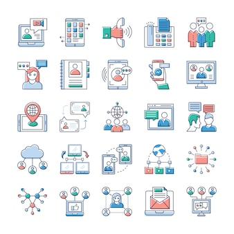 An diesem tag dreht sich alles um schnelle kommunikation. wir hoffen, dass sie diese werbe- und kommunikationsvektorsätze für ihre icons als sehr wertvoll erachten.