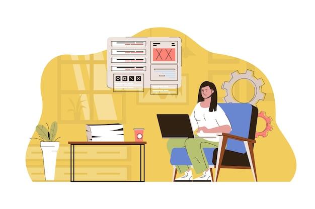 An einem besseren ort arbeiten konzeptfrau, die von zu hause aus am laptop arbeitet