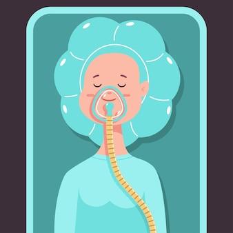 Anästhesie-vektor-cartoon-konzept-illustration mit schlafendem mädchen.