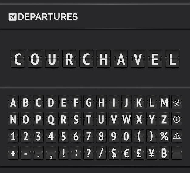Analoge fahrplan-flip-schriftart. ankunft flughafen board mit alphabet, zahlen und symbolen