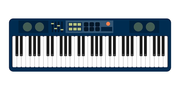 Analoge synthesizer-fader der grauen blauen pianorolle knöpft knopfanzeige auf weiß