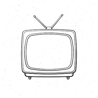 Analoger retro-fernseher mit antenne und kunststoffgehäuse umriss vektor-illustration