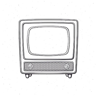 Analoger retro-fernseher mit holzkörpersignal und kanalwähler umrissvektorillustration
