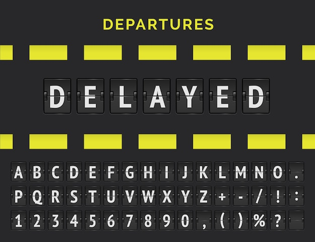Analoges flipboard des flughafens mit fluginformationen zum abflug- oder ankunftsstatus: verspätet mit flugzeugzeichensymbol und alphabet.