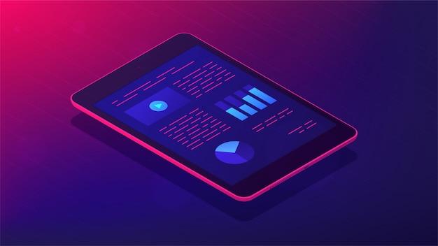 Analyse-app für isometrische illustration der tablette 3d