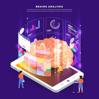 Analyse der digitalen marketingdaten des website-konzepts mit diagramm. illustration.