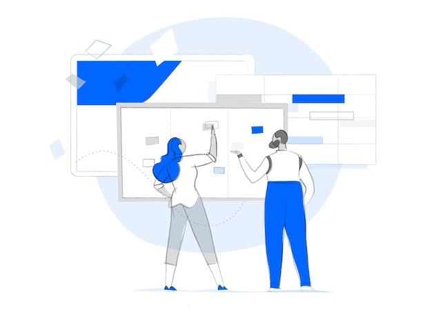 Analyse der kundenerfahrung. ein paar analysiert daten und plant die strategie