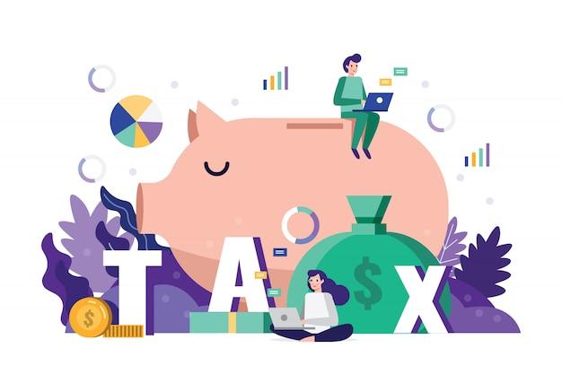 Analyse der unternehmens-team-strategie und steuerdaten zur steuerzeit.
