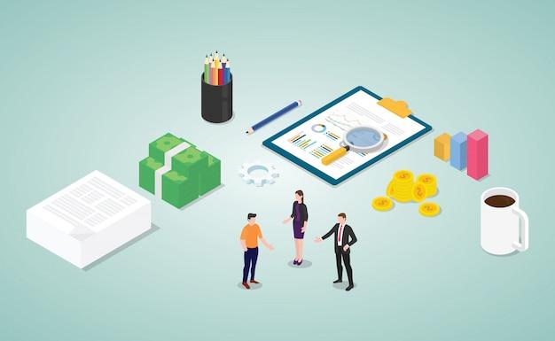 Analyse des finanzberichts mit den mitarbeitern und dem dokument