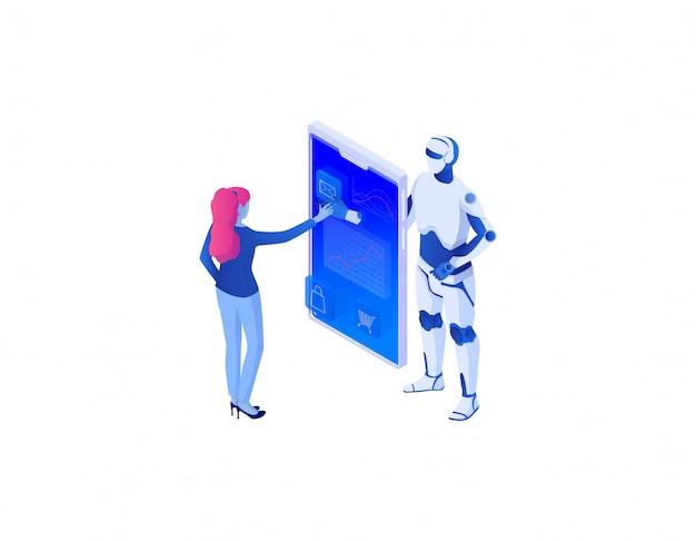 Analyse des online-geschäfts mit dem isometrischen konzept der künstlichen intelligenz. analytische online-management-technologie.