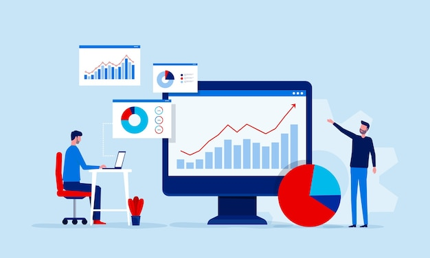Analyse und überwachung des personenteams auf dem dashboard-monitor für webberichte