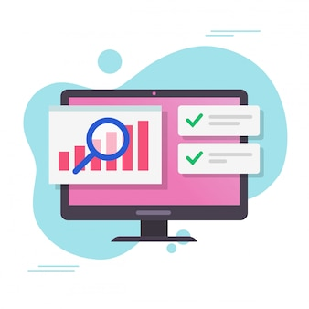 Analyse verkaufsdaten wachstumsdiagramme bericht auf computer oder pc mit prüfung des aktienmarktes mit erfolgsmeldungen vektor flache karikatur