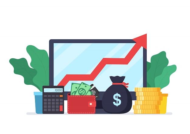 Analyse von webanalysen und geschäftsentwicklungsstatistiken. modernes konzept von geschäftsstrategie, suchinformationen, digitalem marketing, investment management.